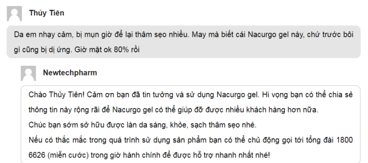 Nacurgo gel review của Thủy Tiên