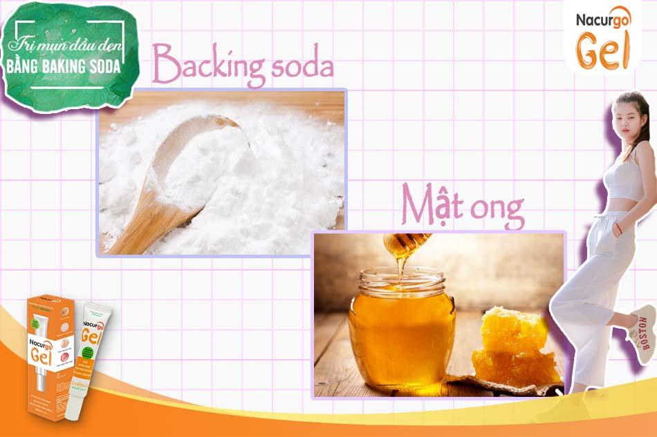 Backing Soda và mật ong là sự kết hợp hoàn hảo trị mụn đầu đen