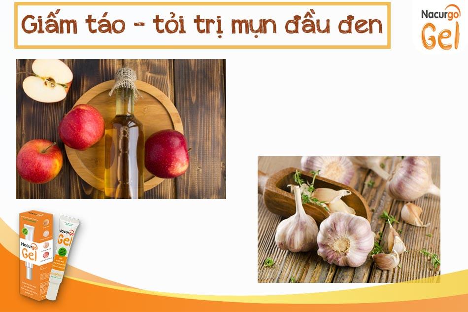 Giấm táo và tỏi trị mụn đầu đen