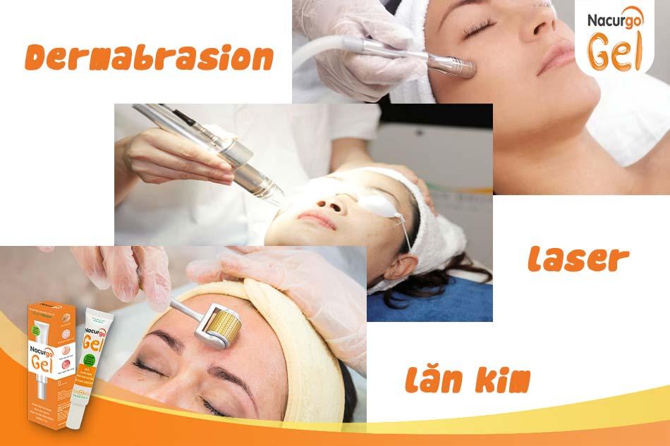 Điều trị y tế trị sẹo thâm như Dermabrasion, Laser, Lăn kim