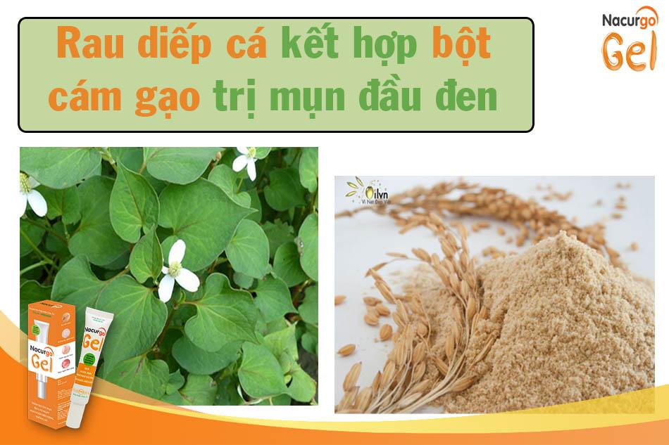 Điều trị thâm mụn bằng rau diếp cá và bột cám gạo