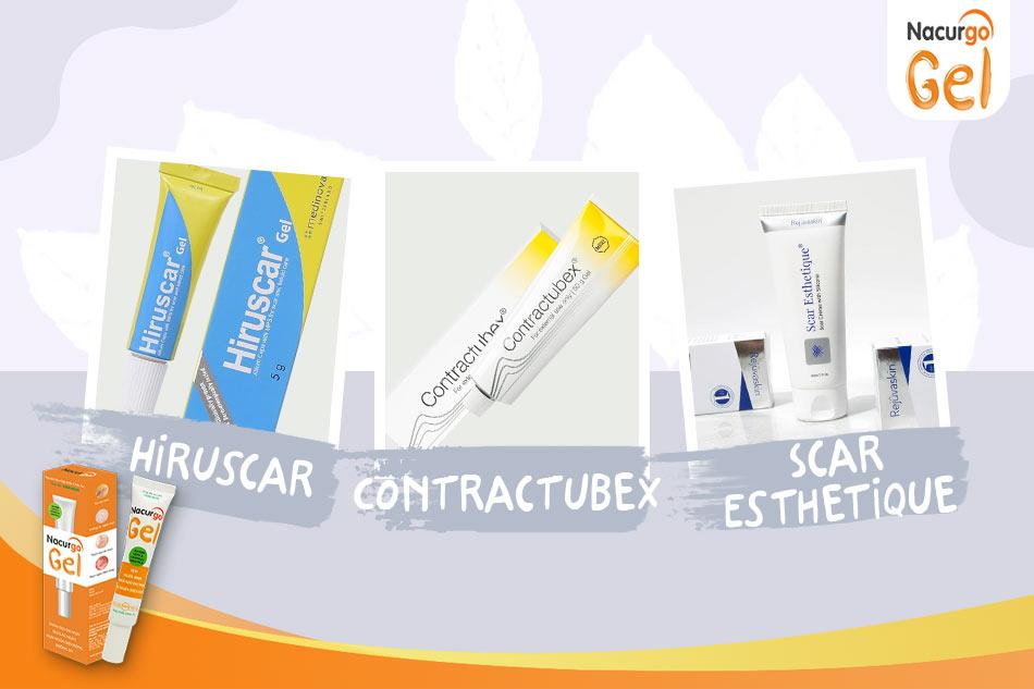 Hiruscar, Contractubex, Scar Esthetique là các sản phẩm trị sẹo được ưa chuộng hiện nay