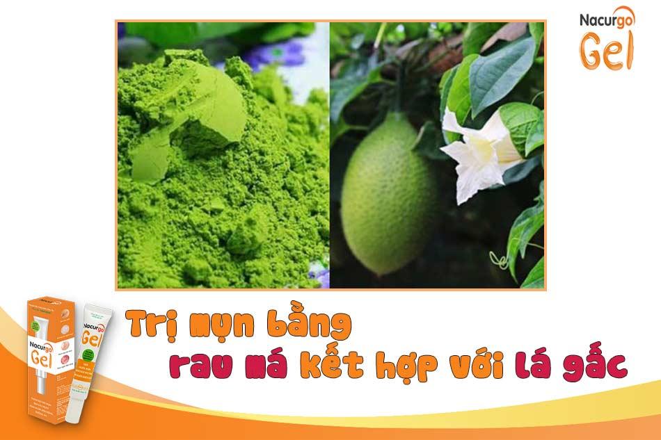 Trị mụn bằng rau má kết hợp với lá gấc